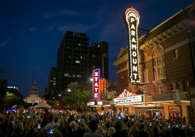 The new blade sign at The Paramount Theatre is turned on during a lighting ceremony on Wednesday September 23, 2015. The original sign was removed around 1964 and disappeared. The Paramount is celebrating its 100th birthday. JAY JANNER / AMERICAN-STATESMAN